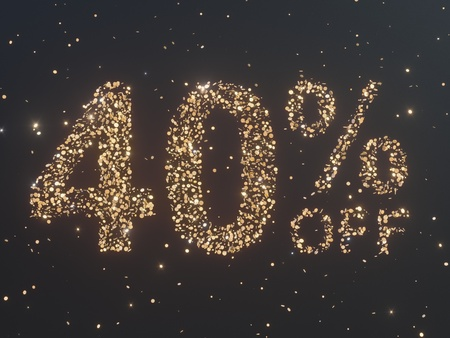 Gold is sold from coins. Gold sale, percent of gold coins. 3d illustration  certificate,  promo,  confetti,  shape