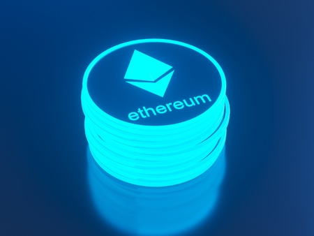 Glossy Ethereum in blurred closeup. Crypto-currency finance and banking as 3D Illustration concept. mining,  monetary,  money,  network,  payment,