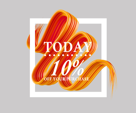 Sale today 10 off sign over art brush. Perfect design for a shop and sale banners. 3d illustration summer,  texture,  today,  up,  white