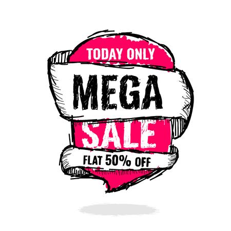 Today Only Mega Sale banner. Big super sale, flat 50 off. Vector illustration. shopping,  sign,  sketches,  special,  super Illustration