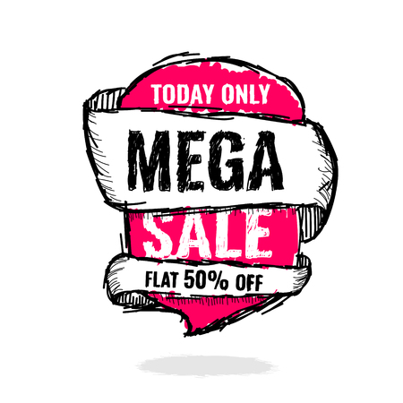 Today Only Mega Sale banner. Big super sale, flat 50 off. Vector illustration. shopping,  sign,  sketches,  special,  super Illusztráció