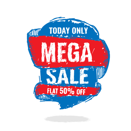 Today Only Mega Sale banner. Big super sale, flat 50 off. Vector illustration.