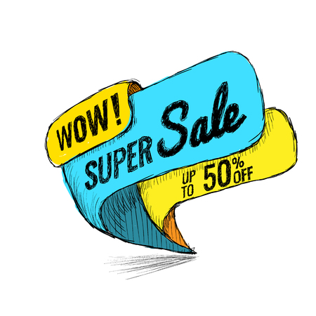 Super Sale, this weekend special offer banner, up to 50 off. Vector illustration. shopping,  sign,  sketches,  special,  super
