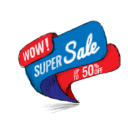 Super sale, this weekend special offer banner, up to 50 percent off vector illustration.