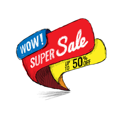 Super Sale, this weekend special offer banner, up to 50 off. Vector illustration.