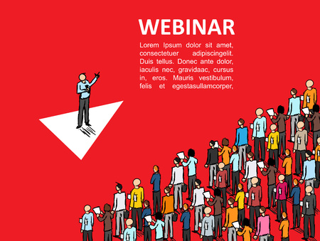 Isometric graph People learn finance Vector Webinar Online school business Manager Isometric finance Conference Leadership training Person
