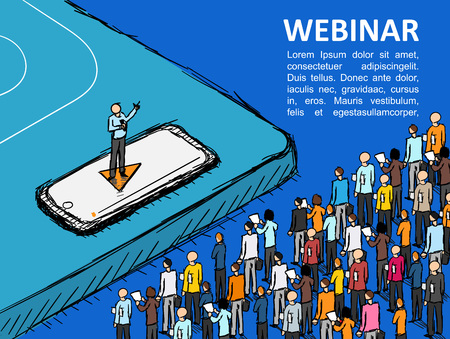 Isometric graph People learn finance Vector Webinar Online school business Manager Isometric finance Conference Leadership training Person Ilustração Vetorial