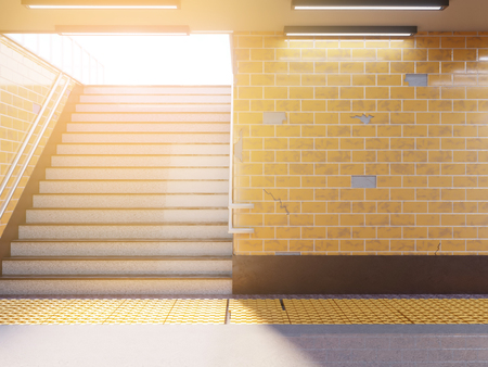 Mock up poster media template ads display in Subway station. 3d illustration, rendering underground,  up,  wall,  white