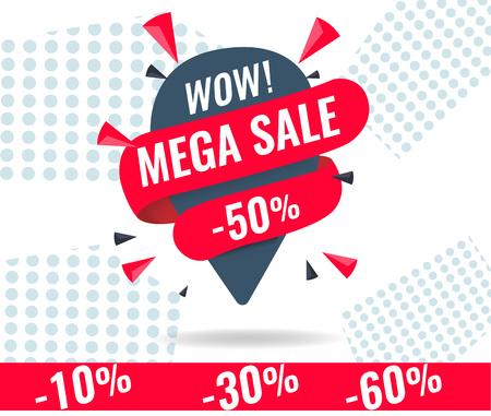 Today Only Mega Sale banner. Big super sale, flat 50 off. Vector illustration, special offer, up to 10 30 50 60