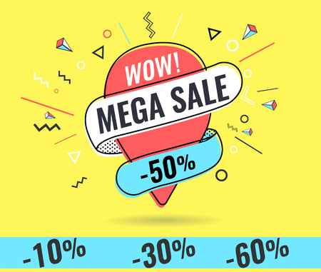Super sale, weekend special offer banner template in flat trendy memphis geometric style, retro 80s - 90s paper style poste.