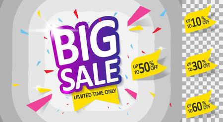 Big Sale, Mega. this weekend special offer banner, up to 10 30 50 60 off. Vector illustration.