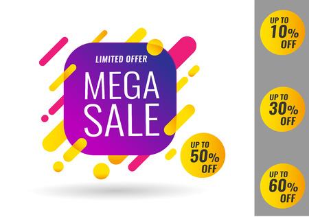 Mega Sale special offer banner, up to 10 30 50 60 off. Vector illustration