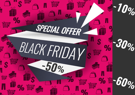 Black Friday sale inscription design template, special offer, up to 10 30 50 60 off. Vector illustration