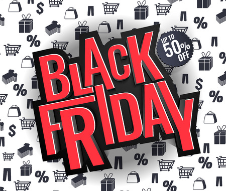 Black Friday sale inscription design template, special offer. Vector illustration. up to 50 0ff.