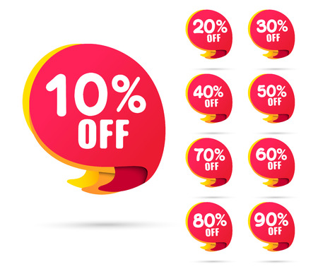 Sale tags set vector badges template, clearance sale sticker emblem red rosette