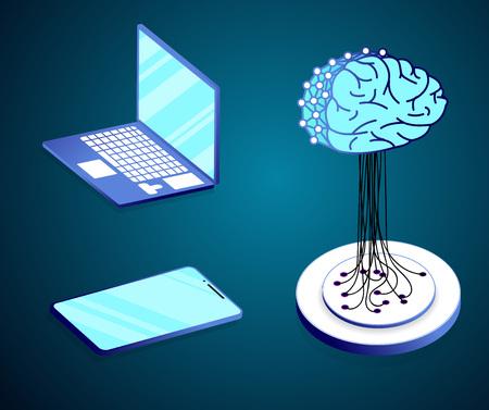 YBER MIND  Flat isometric concept of artificial intelligence, big data, cyber mind, machine learning, digital brain, cyberbrain. illustration