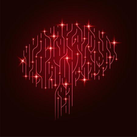 Big data and artificial intelligence concept. Machine learning and cyber mind domination concept in form of human brain outline outline with circuit board. vector.  イラスト・ベクター素材