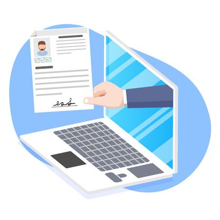 Personalwesen, Online-Bewerbung, Vektorkonzept für Vorstellungsgespräche. Hand, die Lebenslaufpapier hält. HR-Management-Konzept, auf der Suche nach professionellem Personal. Vektorgrafik