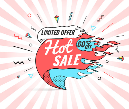 Hot sale, super, weekend special offer banner template in flat trendy memphis geometric style, retro 80s - 90s paper style poster. Illustration
