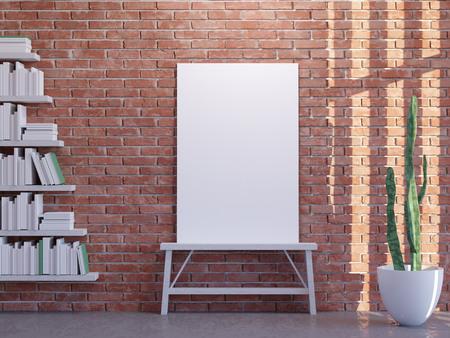 Mock up poster with vintage hipster loft interior background, 3D render. illustration wall, white, wooden, work