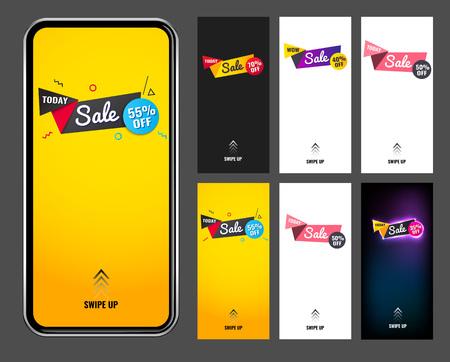 Splash vertical banner sale promotion modern design.swipe up for stories. in six versions. mockup phone. vector illustration