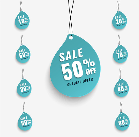 Sale tags set vector badges template, 10 off, 20 , 90, 80, 30, 40, 50, 60, 70 percent sale label symbols Stock Illustratie
