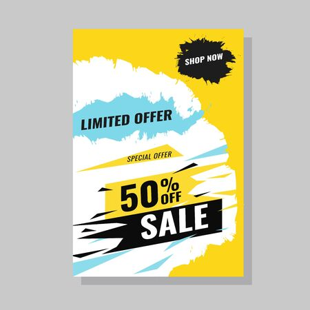 Sale banner template set. Grunge Vector illustration for shop promotion, banners, posters. up to 90 off. Modern clearence offer.