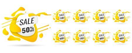Verkaufs-Tags setzen Vektor-Abzeichen-Vorlage, bis zu 10, 20, 90, 80, 30, 40, 50, 60, 70 Prozent Rabatt, Vektorillustration. Vektorgrafik