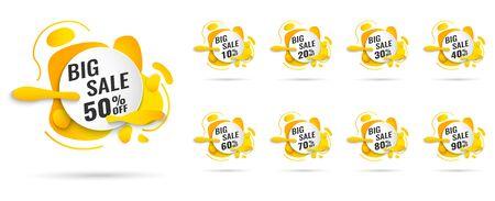 Verkaufs-Tags setzen Vektor-Abzeichen-Vorlage, bis zu 10, 20, 90, 80, 30, 40, 50, 60, 70 Prozent Rabatt, Vektorillustration Vektorgrafik