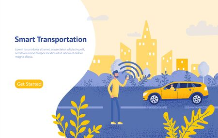 Online taxi order mobile application concept, smart city transportation vector illustration concept. Çizim