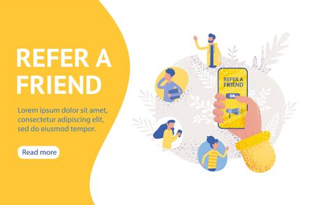 Holding a phone, Social media marketing. Landing page template. refer a friend affiliate partnership and earn money. Vector