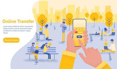 Concepto de transferencia en línea con la mano que sostiene el teléfono inteligente y presione el botón Enviar, plantilla, web, póster, pancarta