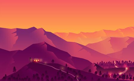 Vector illustration of a house on top of a mountain with a beautiful sunset in mountains silhouettes of trees and forests against the background of a yellow and purple cloudy sky.