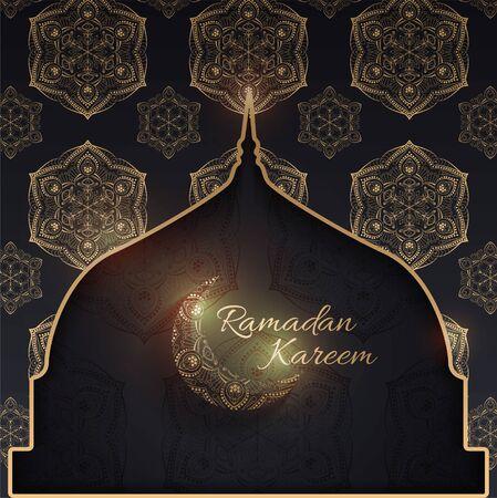 Background design for Muslim festival eid Mubarak. 일러스트