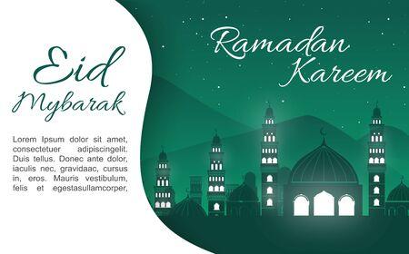 Ramadan Kareem greeting card template line Arabic. Illustration