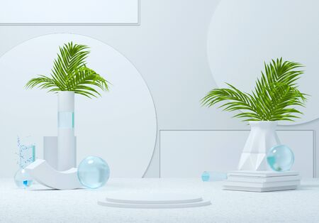 3d render the abstract white background with flowers around the shapes and of the edges. Geometric objects and smartphones. Background for presentation or application mock-up. 3D illustration.