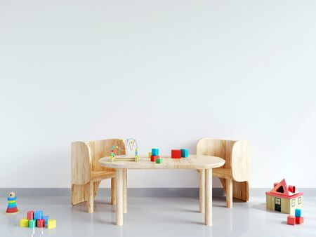 Table and chair in white child room. mock up wall in child room interior. Wall art. Interior scandinavian style. 3d rendering, 3d illustration Standard-Bild