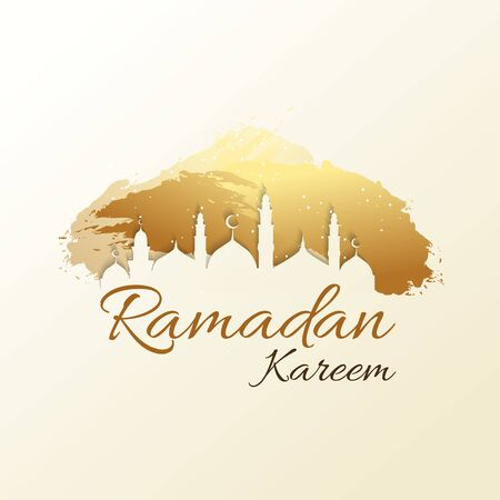 Ramadan Kareem background with mosque silhouette.