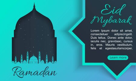 Ramadan Kareem background with mosque silhouette and watercolor background. Arabic calligraphy with colorful crescent Islamic banner, against the of the night sky, with green with blue. Bright colours
