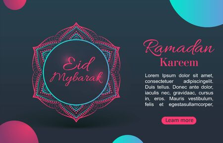 Ramadan Kareem background. Arabic calligraphy with colorful crescent Islamic banner, against the of the night sky, with green with blue. Bright colours Illustration