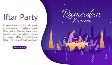 Ramadan Kareem. Iftar Eating After Fasting concept. Family dinner on or celebrating Eid Mubarak. Moslem family dinner on celebrating Eid with people character. Islamic kids Book Illustration. Illustration