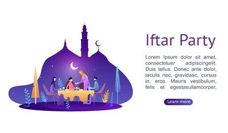 Ramadan Kareem. Iftar Eating After Fasting concept. Family dinner on or celebrating Eid Mubarak. Moslem family dinner on celebrating Eid with people character. Islamic kids Book Illustration.