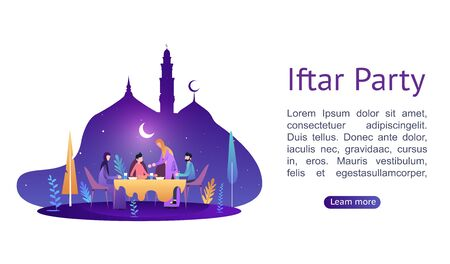 Ramadan Kareem. Iftar Eating After Fasting concept. Family dinner on or celebrating Eid Mubarak. Moslem family dinner on celebrating Eid with people character. Islamic kids Book Illustration.