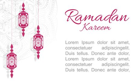 Happy ramadan mubarak greeting concept with people character for web landing page template. Suitable for web landing page, ui, mobile app, banner template. flat cartoon vector illustration.