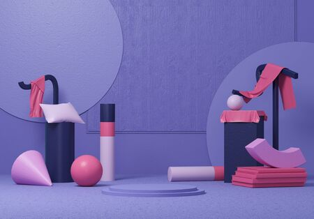 3d render the abstract on the background of purple shapes and background. Geometric objects and smartphones.