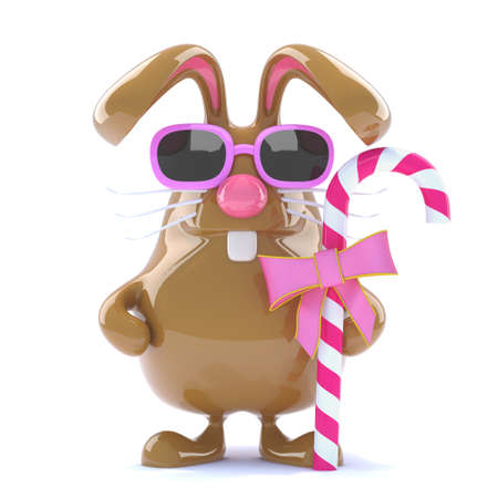 has: 3d Cute easter bunny has some candy Stock Photo