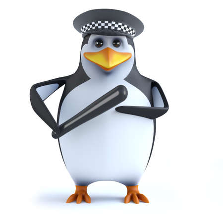 3d Penguin police officer with truncheon photo