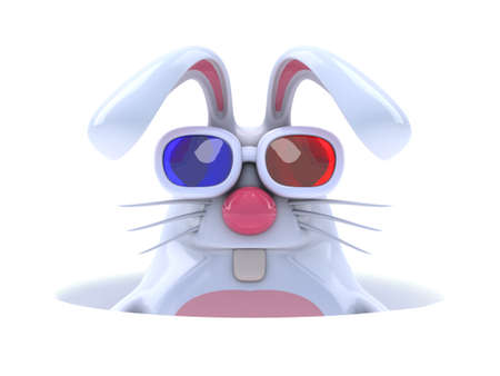 the rabbit hole: 3d render of a white rabbit down a hole wearing 3d glasses