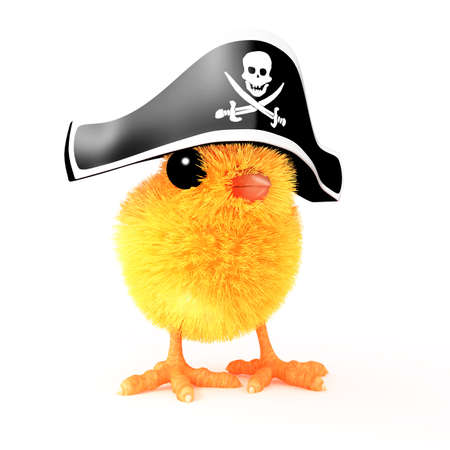 3d render of an Easter chick wearing a pirates hat photo
