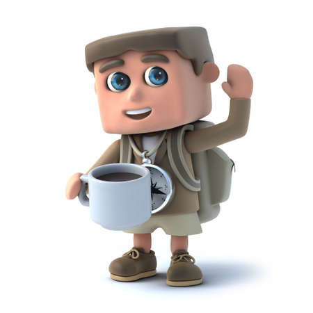 3d Young Hiker drinks a cup of coffee photo